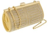 Scheilan Bright Gold Metal Crystal Embellished Clutch.