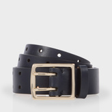 Paul Smith Women's Navy Leather Double Prong Belt