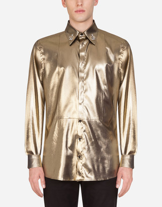 Dolce & Gabbana Lame Gold Shirt With Patch