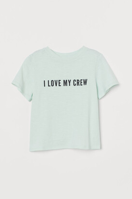 H&M Text-print T-shirt - Green