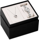 Bulova Women's Crystal Stainless Steel Bracelet Watch & Heart Necklace Box Set 22mm 96X136