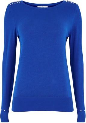 Wallis PETITE Blue Zip Detail Jumper