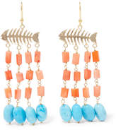 Rosantica Saona Gold-tone Beaded Earrings - Coral