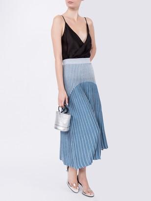 Balmain Ribbed Knit Skirt Blue