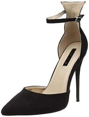 Lost Ink Women's WF Jules Ankle Strap Court Closed Toe Heels, (Black 0001), 6 (39 EU)