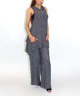 Charcoal Hooded Sleeveless Tunic & Palazzo Pants