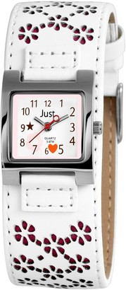 Just Watches Girls Analogue Quartz Watch with Imitation Leather Strap 48-S3913-WH