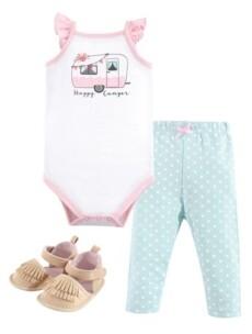 Hudson Baby Baby Girl Bodysuit, Pants and Shoe Set