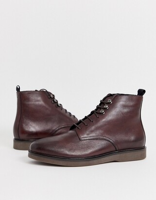 H By Hudson Battle lace up boots in burgundy leather-Red