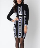 Yuka Paris Black & Olympian Blue Geometric Turtleneck Dress
