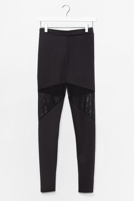 Nasty Gal Womens Mesh Panel High Waisted Sports Legging - Black