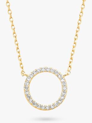 Estella Bartlett Large Cubic Zirconia Pave Circle Pendant Necklace, Gold