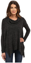 Mod-o-doc Heather Sweater Long Sleeve Cowl Neck Pullover w/ Contrast Sleeve