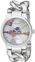 Akribos XXIV Women's Genuine Diamond Accented Mother-of-Pearl Landscaped Dial with Silver-Tone Chain Link Bracelet Watch AK931SS