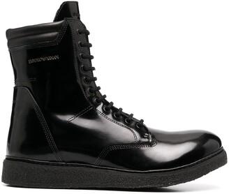 Emporio Armani Lace-Up Combat Boots