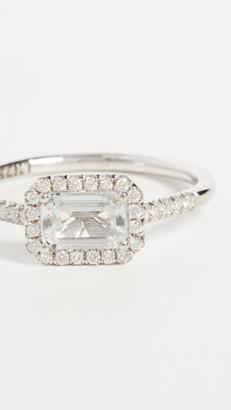 Suzanne Kalan 14k White Gold Hexagon & Pave Diamond Ring