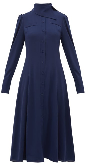 Emilia Wickstead Lucille Georgette Shirt Dress - Womens - Navy