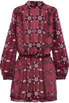 Pierre Balmain Devoré Silk-blend Chiffon Mini Dress - Burgundy