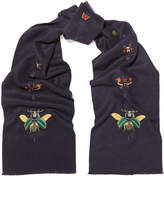 Gucci Embroidered Silk And Cashmere-blend Scarf - Navy