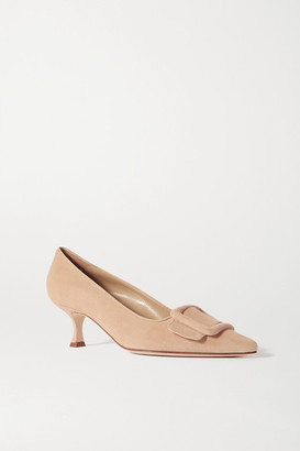 Manolo Blahnik Maysale Buckled Suede Pumps - Beige