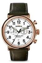 Shinola The Runwell Leather Strap Chronograph Watch