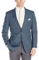 Perry Ellis Portfolio Men's Two Button Slim Fit Gingham Blazer, Navy