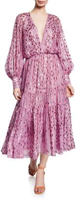 J. Mendel Deep-V Dotted Midi Dress