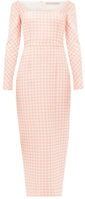 Emilia Wickstead Birch Off-the-shoulder Gingham Cloque Midi Dress - Womens - Pink White