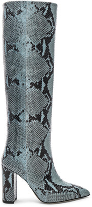 Paris Texas Knee High Python Print Boot in Jeans | FWRD