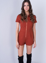 Missy Empire Lissi Rust Zip Up Utility Playsuit