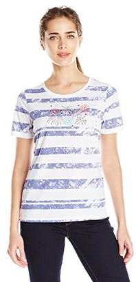 Sag Harbor Women's S/Crewneck Americana Fireworks Striped Tee