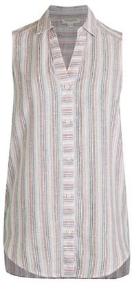 BeachLunchLounge Redda Stripe High-Low Linen-Cotton Sleeveless Blouse