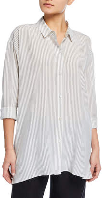 Eileen Fisher Plus Size Striped Silk Crepe Collared Swing Top