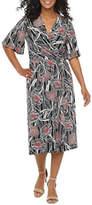 Robbie Bee Petite Short Sleeve Midi Fit & Flare Dress