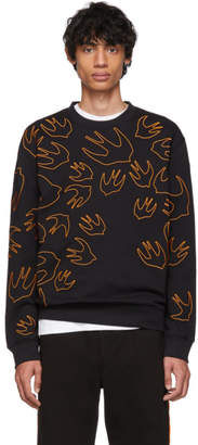McQ Black and Orange Embroidered Swallow Sweatshirt