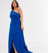 Chi Chi London Plus satin one shoulder statement maxi dress in cobalt-Blue