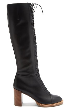 Gabriela Hearst Pat Lace-up Knee-high Leather Boots - Black