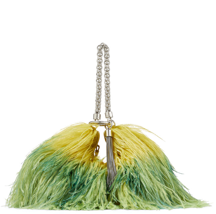 Jimmy Choo CALLIE Citrus and Mint Degrade Ostrich Feather Clutch Bag