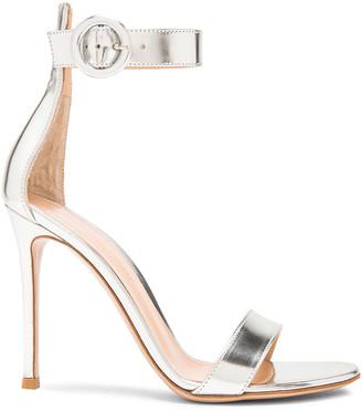 Gianvito Rossi Metallic Leather Portofino Heels in Silver | FWRD