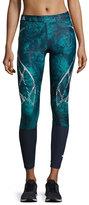 adidas by Stella McCartney Run Sprintweb Rose-Print Leggings, Noble Ink/Blast Emerald