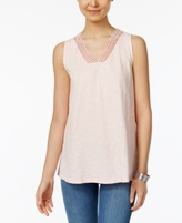 Style&Co. Style & Co Style & Co Petite Cotton Crochet-Trim Tank Top, Created for Macy's