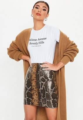 Missguided Brown Snake Print Wet Look Mini Skirt