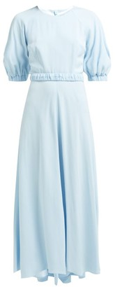 Goat Hannah Belted Crepe Maxi Dress - Womens - Light Blue