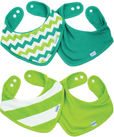 Bumkins Green Chevron & Stripe Bandana Bib - Set of Four