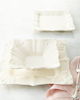 Horchow 12-Piece White Square Baroque Dinnerware Service
