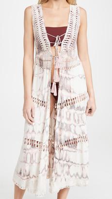 Tiare Hawaii Long Crochet Kimono Vest