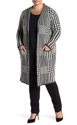 Joseph A Plaid Print Hooded Long Cardigan (Plus Size)