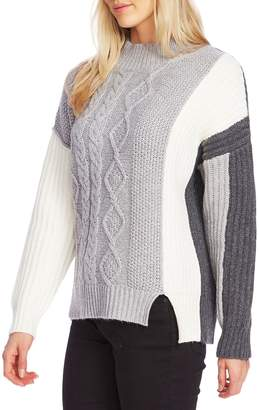 Vince Camuto Cable-Knit Colourblock Cotton-Blend Sweater