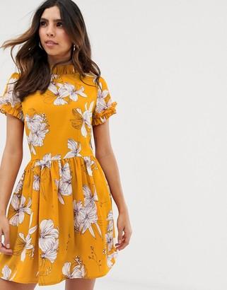 AX Paris floral short sleeve mini dress-Yellow