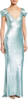 Badgley Mischka Sequined Draped-Sleeve Gown